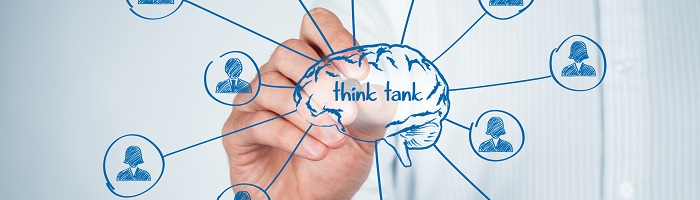 Think tank team concept. Think about human resources or customers. Brain and personnel (team) of think tank organization.