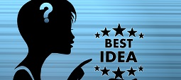 silhouette of a pretty woman presenting a best idea on stylish blue background