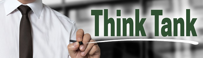 Think Tank is written by businessman background concept.