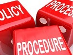 Policy, Process and Procedure words on three red dice to illustrate a company or organization's practices, rules and regulations